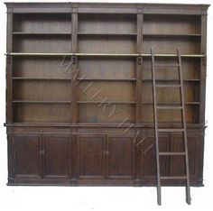 Large Oak Bookcase Ladder Exquisite Molding Cabinet