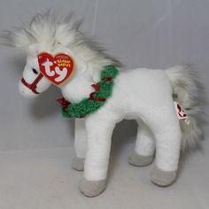 Sleighride 2007 Ty Beanie Babie 6in White Christmas Horse 3up Girls Boys  40708  5c636109651e