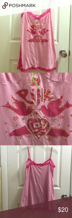 VS Pink Love nighty Super cute groovy look! Hippie inspired peace and love message with the doves and bubble letters. 100% cotton. Hot pink lace on edges. Contrast stitching in an array of colors. Small slit. Adjustable straps. Comfortable and sexy. Says XS/S on tag. Feel free to make a reasonable offer! Not sure what's reasonable? Check out the chart at the top of my closet ☺️ PINK Victoria's Secret Intimates & Sleepwear Chemises & Slips