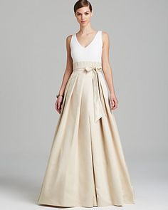 Aidan Mattox Gown - Sleeveless V Neck Satin Box Pleat Skirt | Bloomingdale's