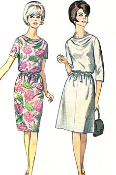 1960s Dress Pattern Simplicity 6327 Cowl Neck Dress by paneenjerez, $10.00