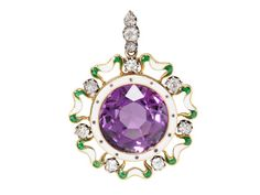 "Edwardian Bejeweled ""Suffragette"" Pendant. 18kt yellow gold and silver pendant with round faceted amethyst of approximately 8 carats, surrounded with white and green enamel and diamonds. Circa 1910"