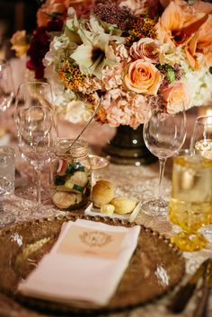 Lace Linens with Beaded Gold Chargers