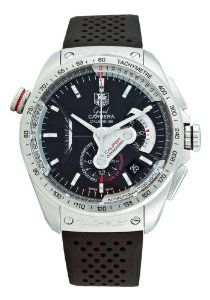 TAG Heuer Men's CAV5115.FT6019 Grand Carrera Automatic Chronograph Black Dial Watch TAG Heuer. $5985.00. Case diameter: 43 mm. Black rubber strap. Water-resistant to 99 feet (30 M). Stainless steel round case. Black dial. Save 40% Off!