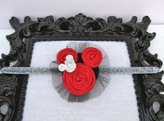 Disney Mickey Mouse inspired Red flower rosettes black tulle sparkling crystals hair clip Glitter Elastic Headband Baby Kid Photography Prop. $11.00, via Etsy.