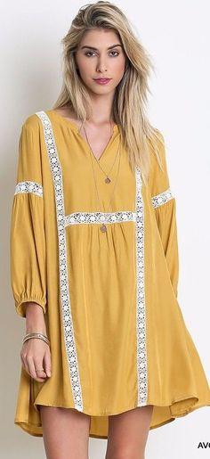 Umgee Baby Doll Shift Dress * Lace Trim * Avocado Boho Chic Gypsy Hippie A1534