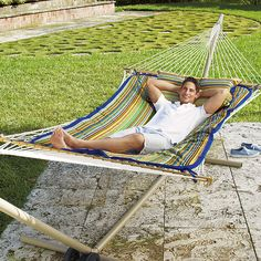 Get a great price on hammocks and the accessories you need for a complete backyard retreat.