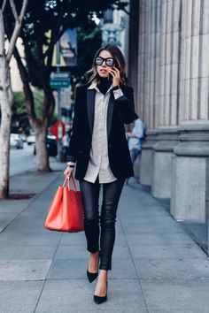 8 Ways To Style A Turtleneck This Fall | 1. Layer a thin turtleneck under a button-down and blazer for a new twist on your classic work outfit.