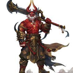 King Of Oni - ART by ilsu jang - student Fantasy Demon, Fantasy Races, Fantasy Monster, Fantasy Warrior, Fantasy Character Design, Character Design Inspiration, Character Concept, Character Art, Concept Art