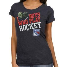 Reebok New York Rangers Ladies I Heart Boys Who Play Hockey T-Shirt - Navy Blue <3
