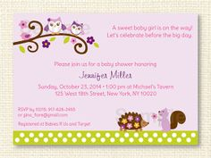 Owl Forest Baby Shower Invitation PRINTABLE by LittlePrintsParties, $12.00