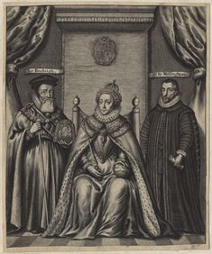 Queen Elizabeth I. seated between William Cecil, 1st Baron Burghley, her 'Spirit',  and Sir Francis Walsingham, her 'Moor'.