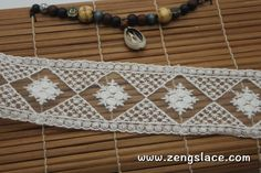 White cotton mesh lace ribbon with diamond pattern and flowers