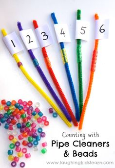 Great counting activity for preschool! String beads on pipe cleaners. Preschool Math Activities, Number Activities For Preschoolers, Fine Motor Skill Activities, Learning Activities For Kids, Kindergarten Math Centers, Pre School Activities, Letter T Activities, Number Recognition Activities, Number Sense Activities