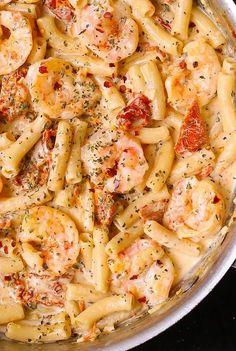 Superb Sun Dried Tomato Pasta with Shrimp in creamy Mozzarella sauce. The post Sun Dried Tomato Pasta with Shrimp in creamy Mozzarella sauce. Italian pasta re… appeared first on Recipes 2019 . Creamy Shrimp Pasta, Healthy Shrimp Pasta, Shrimp Noodles, Shrimp And Sausage Pasta, Cajun Shrimp Pasta, Healthy Pasta Dishes, Garlic Noodles, Butter Shrimp, Penne Shrimp Recipe