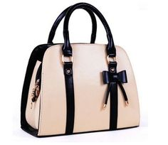 New Style Fashion High-quality Pu Women's Elegant Shoulder Bag Messenger Bag Top Handle Bag Handbag with Bow-knot (beige) Cute Handbags, Purses And Handbags, Leather Handbags, Vintage Handbags, Ladies Handbags, Cheap Handbags, Vintage Purses, Vintage Bags, Pink Handbags