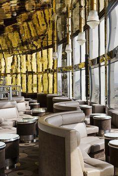 "Gold and Silver division in the design ""panoramique"" Bar - Concorde La Fayette - Paris"