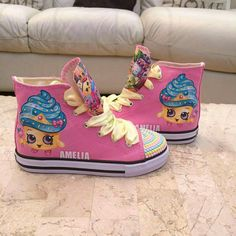 Shopkins theme hi tops any character and name added. Shopkins theme hi tops any character and name added. Shopkins 7th Birthday Party, Shopkins Bday, Pokemon Birthday, 10th Birthday, Shopkins Shoes, Shopkins Outfit, Shopkins Clothes, Painted Toms, Hand Painted Shoes