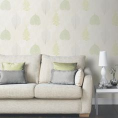 Introducing Arthouse Opera Thea Leaf and Tree Wallpaper in Green inspired by the falling leaves of Autmn, perfect for adding character and colour to a home. Tree Wallpaper Green, Go Wallpaper, Back To Home, Wall Maps, Home Art, Love Seat, New Homes, Throw Pillows, Living Room