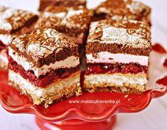 """Ciasto """"Wszystkiego Najlepszego"""" z wiśniami i czekoladą - Mała Cukierenka Food Cakes, Malaga, Tiramisu, Cake Recipes, French Toast, Food And Drink, Sweets, Baking, Breakfast"""