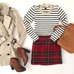 Burberry Brit Marystow Trench Coat, Red plaid wool mini skirt, Vince Camuto Franell western booties, striped shirt, Tory Burch mini Robinsin tote