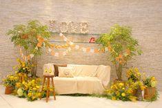 Loft Wedding, Wedding Sari, Diy Wedding, Backdrop Decorations, Backdrops, Wedding Decorations, Yellow Bouquets, Outdoor Sofa, Outdoor Decor
