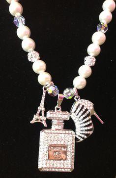 Paris Fashion Bling Pearl Necklace via Etsy