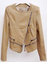 Khaki Long Sleeve Zipper Embellished Leather Coat $79.03