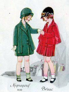 Young girls' fashion, 1926 Young Girl Fashion, Kids Fashion, Fashion Images, Vintage Outfits, Vintage Fashion, Vintage Wardrobe, Mode Vintage, Vintage Items, Illustrations