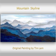 Mountain art Black and White painting Large Oil painting on gallery wrap canvas Ready to hang by tim Lam 48x24