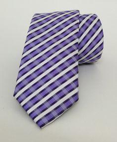 Lilac and White Striped Mens Tie 6 cm (2,36 #handmadeatamazon #nazodesign