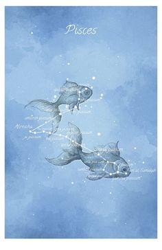 Astronomie Kunst, Sternbild Fische, Fische, leuchtende Sternen Hand verziert…