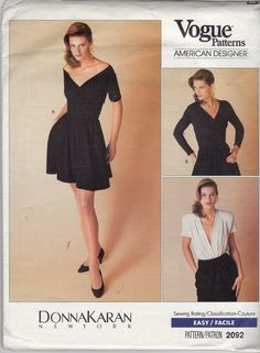 Uncut Vogue Pattern 2092 Easy - DONNA KARAN New York - -Misses Bodysuit, Top & Shorts - Mock Wrap Body Suit and Off Shoulder Top - Size 14 (neckline)