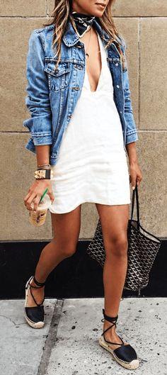 #summer #outfits / denim jacket + deep v neck dress