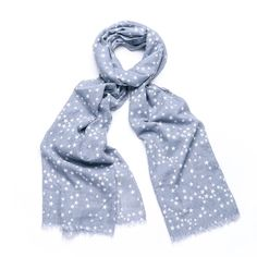 LADIES GREY STAR PRINT SCARF GREY WITH WHITE STARS LINEN BLEND SCARF WRAP