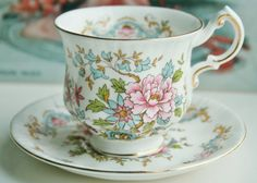 Royal Standard Mandarin vintage teacup with saucer, fine bone china