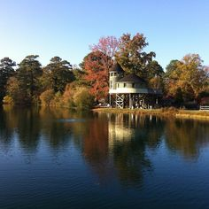 Oh lovely fall -- the Children's Garden Tree House across Sydnor Lake at Lewis Ginter Botanical Garden.