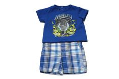 Hurley infant boys outfit. Love the plaid shorts!