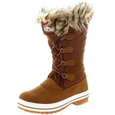 Womens Nylon Warm Fur Trim Duck Rain Snow Outdoor Tall Winter Rain Boots - 9 - TAN40 YC0112
