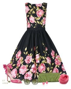 """""""'Audrey' Pink Rose Border Dress"""" by karen-of-abog ❤ liked on Polyvore featuring Kate Spade, Judith Leiber, Zonda Nellis, Tom Ford and Ippolita"""