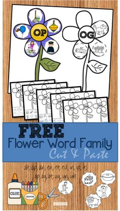 FREE Flower Word Family Worksheets - FUN cut and paste phonics practice for Preschool, Kindergarten, grade, and grade kids Blends Worksheets, Phonics Worksheets, Phonics Activities, Phonics Rules, Learning Activities, Word Family Activities, Cvc Word Families, Family Worksheet, Spring Words