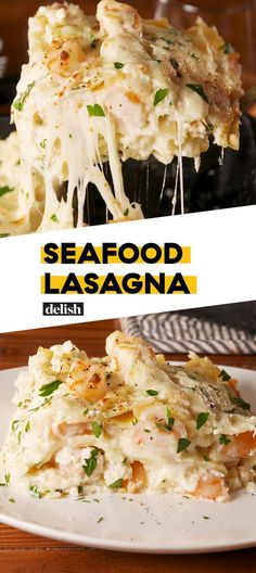easiest, cheesiest shrimp lasagna you'll ever lay eyes on. Comfort truly at its finest.to the easiest, cheesiest shrimp lasagna you'll ever lay eyes on. Comfort truly at its finest. Shrimp Lasagna, Seafood Lasagna Recipes, Seafood Casserole Recipes, Seafood Meals, Lobster Lasagna Recipe, Cajun Lasagna, Lasagna Noodles, Crab Meat Recipes, Veggie Food