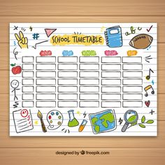 School Timetable Template With Hand Drawn Objects Free Vector