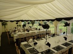 Black and white themed birthday party marquee