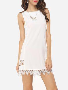 #Fashionmia - #Fashionmia Hollow Out Lace Patchwork Plain Delightful Boat Neck Shift-dress - AdoreWe.com