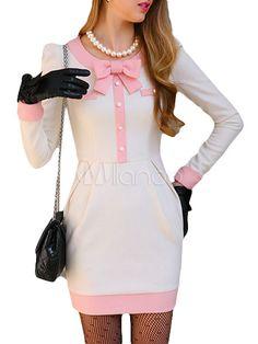 Wool Blend Bodycon Dress with Bow Decor - Milanoo.com