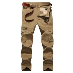Fabric Material:     93%Cotton, 3%Spandex     Lining Material:   Cotton   Closure Type: Zipper Fly   Decoration:   Pockets, Buttons     Pattern: Solid Color     Pant Style: Cargo Pants     Thickness:   Standard    Color:     Dark Blue, Army Green, Khaki     Occasion:   Casual, Outdoor   Season:     Spring, A  utumn,   Winter     Size: 32, 34, 36, 38, 40, 42    Package included:   1* Pants ( No Belt )      Please Note:                1.Please see the Size Reference to find the…