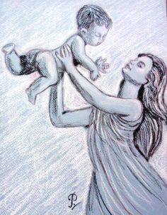 'Mother and Child'- a drawing in black and white pastel on grey paper. I want this hanging on my wall!