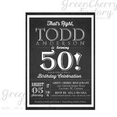 Milestone Adult Birthday Invitation  Black by GreenCherryFactory, $18.00