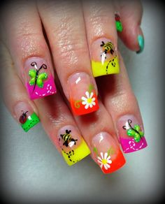 Neon french manicure, tip spring designs, flowers, floral, free hand nail art, link to 365 days inspiration designs I love these fun spring designs combined with the hot spring / summer neon colors! The link to 365 days of inspiration for nails is a fantastic resource for everyone - from Pro Nail Techs to beginners!